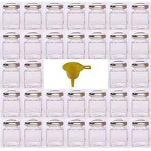 Viva Haushaltswaren 32 x Mini Marmeladenglas/Gewürzglas 50 ml mit silberfarbenem Schraubverschluss, Gläser Set mit Deckel für Gewürze, Konfitüre, Salz etc. verwendbar (inkl. Trichter)