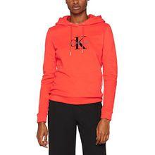 Calvin Klein Jeans Damen Kapuzenpullover Honor Pullover Hoody, Rot (Flame Scarlet 690), Medium
