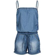 Sublevel Damen Jeans Jumpsuit Overall LSL-270 geflochtener Gürtel Washed-Look kurz middle blue L