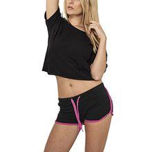 Urban Classics Damen Short Ladies French Terry Hotpants, Mehrfarbig (Blk/Fuc 23), 40 (Herstellergröße: L)