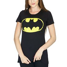 Batman Logo Girlie Shirt Damen Schwarz Baumwolle - M