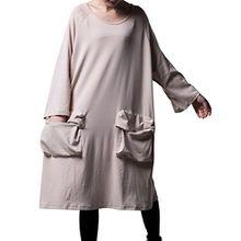 Vogstyle Damen Frühling/Herbst Neue Langarm Etuikleid mit Taschen X-Large Style 1 Beige