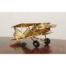 Nostalgie Blech Doppeldecker Flugzeug Creme kleines Modell