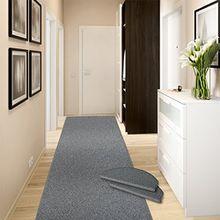 Teppich-Läufer Ponto | für Küche, Flur und Schlafzimmer | Meterware | Qualität aus Deutschland | in vielen Größen | stahlgrau | 66x300 cm