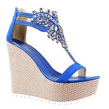 Angkorly Damen Schuhe Sandalen - T-Spange - Plateauschuhe - Schmuck - Bestickt Keilabsatz High Heel 13 cm - Blau 168-1 T 41