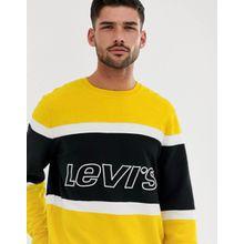 Levi's - Sweatshirt mit Bahnendesign in in Gelb/Schwarz und Logo aus der Brust - Gelb