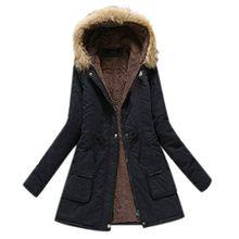 Minetom Damen Winterantel Wattierter Parka Coat mit Pelzkapuze Winterparka Warme Lang Winter Mäntel Outdoorjacke Outwear Schwarz DE 46