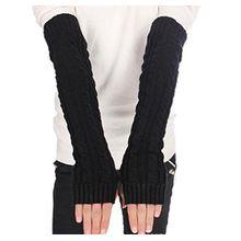 BACKSPORT Damen Mädchen Fingerlos Armstulpen Handschuhe gestrickt Lang (#C Schwarz)