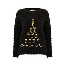 Christmas Wishes Damen NEU DESIGNER Weihnachts Pullover weich Wimper gestrickt Pullover - Prosecco - schwarz, S