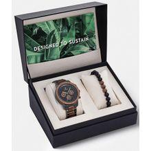 KERBHOLZ Chronograph »Maximilian, XMAS-SET«, (Set, 2-tlg., mit Armband Bullet Bracelet Walnut Lava Black)