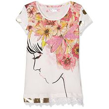 Desigual Mädchen T-Shirts TS_Arkansas, Weiß (Blanco 1000), 104 (3/4)