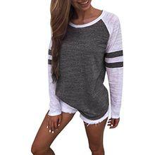 Sweatshirt T-shirt,Dasongff Mode Damen Langarm Gestreift Strick Spleiß-Blusen Oberseiten Langshirt T-Shirt Oberteil Tops (S, Dunkelgrau)