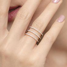 Ring Triple mit Diamanten, 18K Rosegold