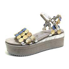 Tamaris 28033-30 248 Damen Modische Sandale Aus Lederimitat 65-mm-Plateausohle, Groesse 37, Grau