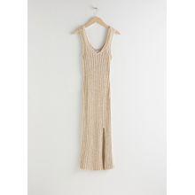 Glitter Cotton Blend Knit Midi Dress - White