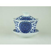 Gaiwan, aus Porzellan, zweiteilig, mit Deckel, für das Aufbrühen von Tee