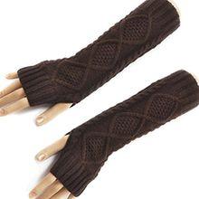 HITOP Damen Accessory Trendige Quilted Thread gestrickte fingerlose Armstulpen Feinstrick lang Pulswärmer Handwärmer Stulpen (braun)