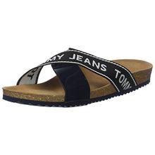 Hilfiger Denim Damen Tommy Jeans Flat Cork Sandal Plateausandalen, Blau (Midnight 403), 38 EU