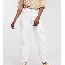 COLLUSION – Weiße Cargo-Jeans mit Taschen und Bündchen