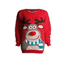 Fast Fashion Kinder Pullover Schöne Rudolph 3d Nase Pom Pom Weihnachts