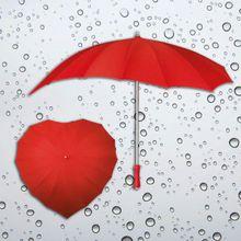 Herzregenschirm rot