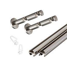 VICTORIA M 2 in 1 – Vorhangstange / Vorhangschiene 2-läufig 240cm (4x 120cm) inkl. Wandhalter + Gleiter, silber | Ø 16mm