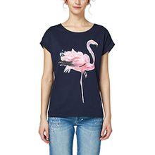 edc by ESPRIT Damen T-Shirt 048CC1K015, Mehrfarbig (Navy 400), Medium