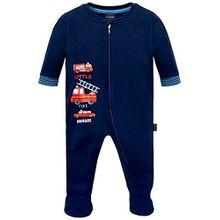 Schiesser Baby-Jungen Schlafstrampler Anzug mit Fuß, Blau (Dunkelblau 803), 92 (Herstellergröße: 092)