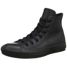 Converse Chucks Taylor All Star Hi Leder, Unisex - Erwachsene Sneaker, Schwarz (Black Mono 001), 40 EU