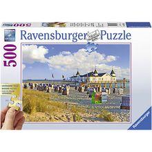 Puzzle 500 Teile, 61x46 cm, Gold Edition: größere Teile, Strandkörbe in Ahlbeck, Ostsee