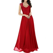 Miusol Damen Aermellos V-Ausschnitt Spitzenkleid Brautjungfer Cocktailkleid Chiffon Faltenrock Langes Kleid Rot Groesse 44/46/XL