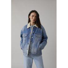 CLOSED Jeansjacke mit Teddyfellfutter light blue