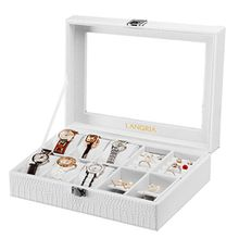 LANGRIA Doppelte Uhren und Brillen 10 Aufbewahrungsbox mit deckel abschließbar Uhrenbox Uhrenkoffer Uhrenkasten, beige weiß