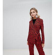 Missguided - Seitlich geschnürte Jacke mit Leopardenmuster - Rot