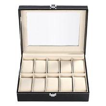 BATHWA Uhrenbox für 10 Uhren Uhrenkoffer Uhrenkasten mit Glasdeckel schwarz
