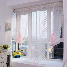 Ouneed® Gardinen , 1 PCS Blütenfarbe Tulle Türfenstervorhang drapieren Panel Sheer 100x80 cm (Weiß)