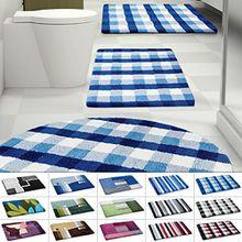 Design Badematte | rutschfester Badvorleger | viele Größen | zum Set kombinierbar | Öko-Tex 100 zertifiziert | viele Muster zur Auswahl | Kariert - Blau (60 x 100 cm)