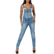Damen Jeans Hose Latzjeans Latzhose Overall Röhre No 15848, Farbe:Blau, Größe:M / 38