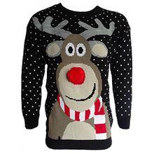 Herren Damen 3D Rudolph Rentier Elfen Weihnachten Neuheit Pullover Stricktop - SCHWARZ POM POM NASEN, Herren, M