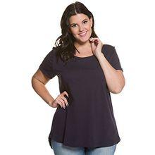Ulla Popken Damen Große Größen | T-Shirt | Basic | Weiter Rundhals, Kurzarm & Abgerundetem Saum | Regular | bis Größe 54+ | Nachtblau 42/44 709841 76-42+