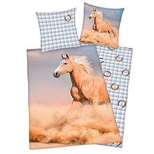 Herding Kinderbettwäsche Pferde, Renforce, multi, Größe Bettwäsche:135x200 cm + 80x80 cm