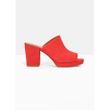Suede Mules - Red