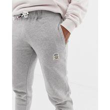 Jack & Jones Originals - Schmale Jogginghose mit Logo-Aufnäher - Grau
