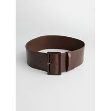 Wide Rectangle Buckle Leather Belt - Brown