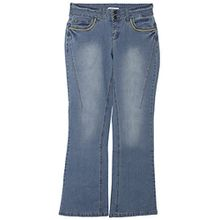 sheego Jeans Bootcut Boot Cut Damen Hose Stretch Plusgröße Kurzgröße Langgröße, Farbe:blau;Damengrößen:44