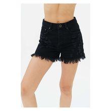 trueprodigy® trueprodigy Jeans-Shorts Frayed im Destroyed-Look Shorts schwarz Damen