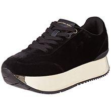 Calvin Klein Damen Cate Velvet Sneaker, Mehrfarbig (Black/Gold), 36 EU