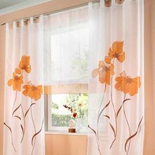 Souarts Orange Stickerei Transparent Gardine Vorhang Schlaufenschal Deko für Wohnzimmer Schlafzimmer Studierzimmer 150cmx145cm Nur Ein Schlaufenschal Ohne Raffgardinen