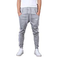 Minetom Herren Jungen Hippie Haremshose Jogginghose Freizeit Skinny Hose ( Grau EU XL )