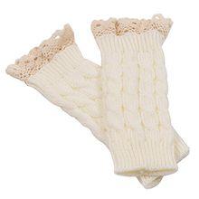 Bluelans® Armstulpen Pulswärmer lang fingerlos Handschuhe Damenhandschuhe Winterhandschuhe Fäustlinge Fausthandschuhe (Weiß)